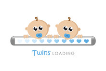 Baby Boy Twins Loading Bar Wit...