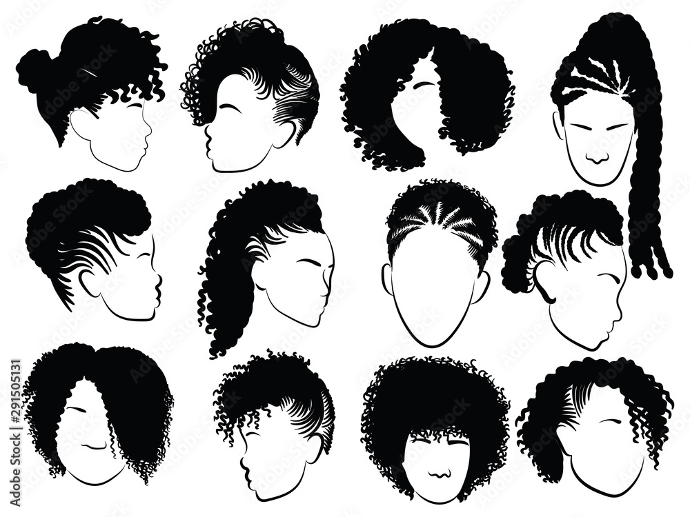 Fototapeta Set of female afro hairstyles. Collection of dreads and afro braids for a girl. Black and white illustration for a hairdrymaker.