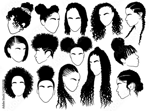 Obraz Set of female afro hairstyles. Collection of dreads and afro braids for a girl. Black and white illustration for a hairdrymaker. - fototapety do salonu