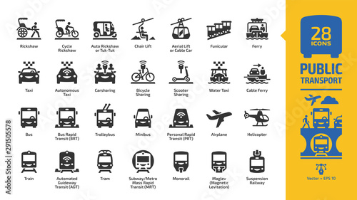 Foto Public transport icon set with urban, inter city & international passenger vehicles glyph symbols: bus, car, train, air plane, ferry boat, bicycle sharing, metro or subway, motor taxi and rickshaw