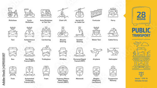 Public transport outline icon set with urban, inter city, international and travel passenger vehicle editable stroke line signs: bus, van, car, train, aircraft, ship, bike, metro, taxi, road & traffic