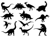 Fototapeta Dino - Set of dinosaur silhouettes. Collection of extinct animals. Black and white illustration of dinosaurs for children. Tattoo.