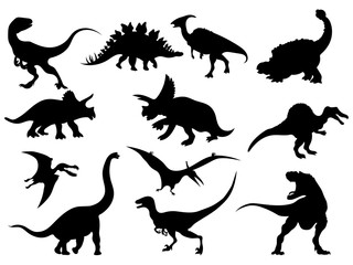 Set of dinosaur silhouettes. Collection of extinct animals. Black and white illustration of dinosaurs for children. Tattoo.