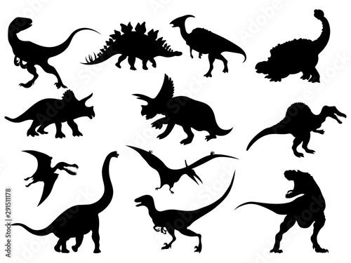 Photo Set of dinosaur silhouettes