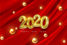 Happy New 2020 Year. Vector Holiday Illustration Of Golden Numbers On Red Draped Fabric Background With Shiny Spheres Or Pearls. Festive Event Banner. Decoration Element For Poster Or Cover Design