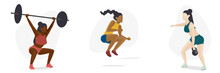 Female Crossfit Athlete Character Icon Set, Multicultural Diversity Concept
