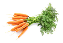 Fresh Carrots On White Backgro...