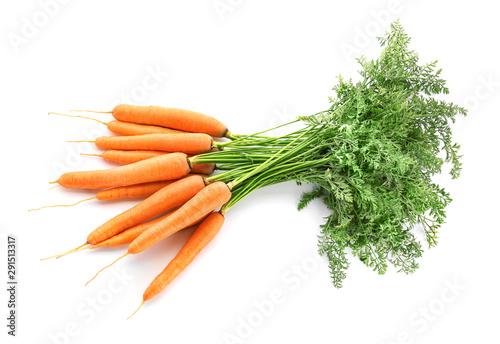 Obraz Fresh carrots on white background - fototapety do salonu