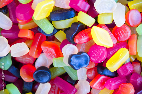 Wallpaper of colored candies. Close up. Top view. Liquorice Canvas Print