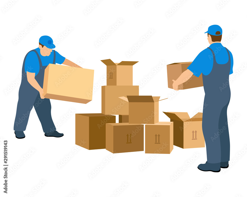 Fototapeta Two men in the relocation service make up the boxes. Worker in uniform. Vector illustration isolated on white background