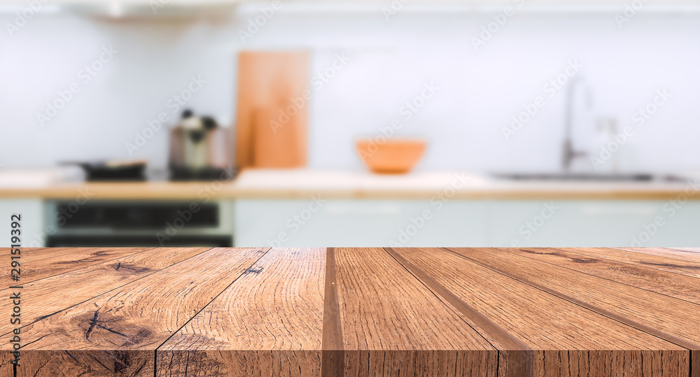 Fototapety, obrazy: Wood table top on blurred kitchen background