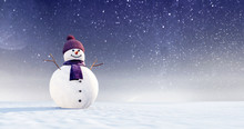 Snowman With Purple Scarf And ...