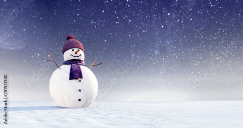 Snowman with purple scarf and winter hat at snowy Christmas night 3D Rendering Wallpaper Mural
