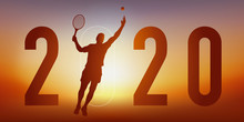 Carte De Vœux 2020 Sur Le Thème Du Sport, Avec Un Joueur De Tennis, Qui Frappe La Balle Avec Sa Raquette Pour Un Point Gagnant.