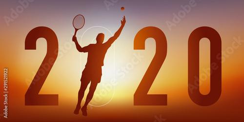 Carte de vœux 2020 sur le thème du sport, avec un joueur de tennis, qui frappe la balle avec sa raquette pour un point gagnant Canvas Print