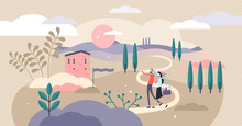 Countryside Vector Illustration. Flat Tiny Rural Ranch Area Persons Concept
