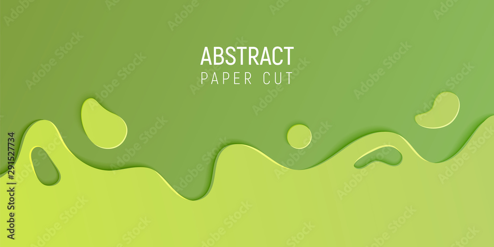 Fototapety, obrazy: Green abstract paper cut slime background. Banner with slime abstract background with green paper cut waves. Vector illustration.
