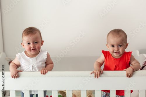 Happy fraternal twins sisters having fun, standing in crib Canvas-taulu