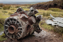 The Remains Of A Plane Crash On Mill Hill On Chunal Moor. Plane Engine And Wing Rusting.