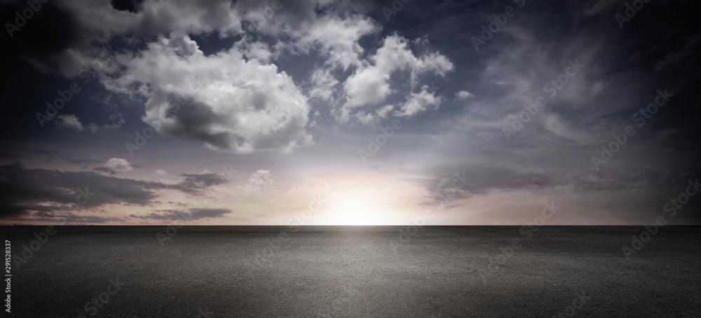 Fototapeta Panoramic Cloud Sky Horizon with Concrete Floor Background