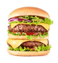 Fresh Big Hamburger With Cheese Isolated On White Background