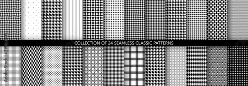 Big collection of classic fashion houndstooth seamless geometric patterns Canvas Print