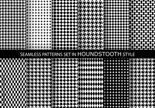 Photo Set of classic fashion houndstooth seamless geometric patterns