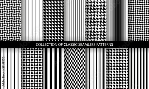 Big set of classic fashion houndstooth seamless geometric patterns Wallpaper Mural