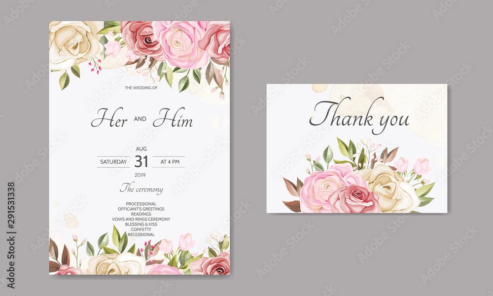 Fototapeta Beautiful floral leaves wedding invitation card template