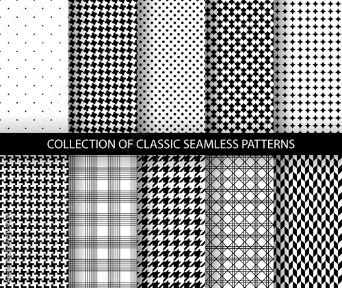 Fényképezés Set of classic fashion houndstooth seamless geometric patterns