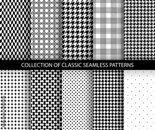 Set of classic fashion houndstooth seamless geometric patterns Wallpaper Mural