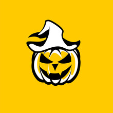 Black White Halloween Pumpkin With Vampire Face In A Hat On A Yellow Background.