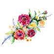 Bouquet floral botanical flowers. Watercolor background set. Isolated bouquets illustration element.