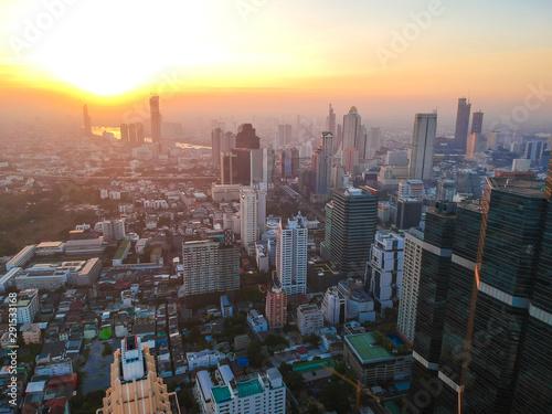 Montage in der Fensternische Cappuccino Modern city building morning sunrise aerial view