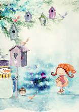 Winter Birds. Watercolor Background For Children