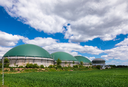 Biogas plant in rural Germany Biofuel Industry concept Wallpaper Mural