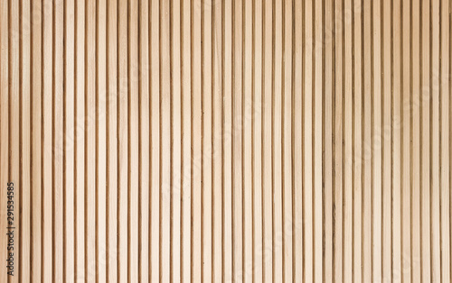 Obraz solid wooden battens wall pattern background with natural color finishing - fototapety do salonu