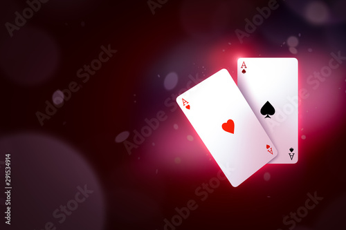 Photo 3d close-up rendering of ace of hearts and ace of spades on gradient cherry-purple bokeh background with copy space