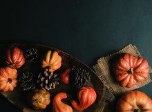 Top View Of Mini Pumpkin And Pine Cone Arrangement On Black Background With Copy Space For Fall Or Autumn Concept.
