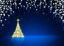 Golden Christmas Tree Isolated On Blue Sky Background.