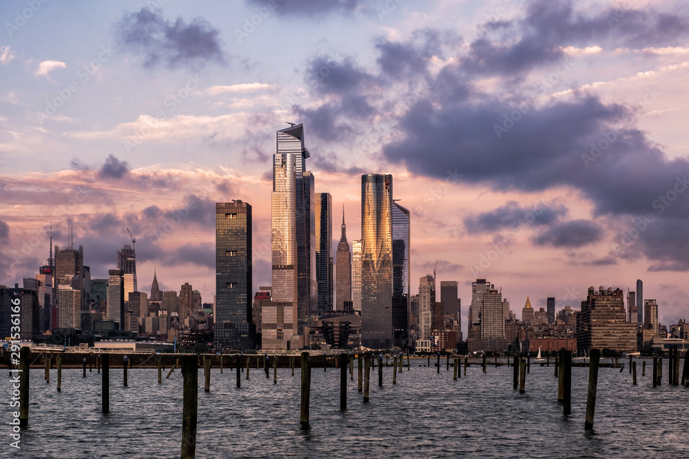 Fototapety, obrazy: Sunset at Hudson Yards skyline of midtown Manhattan view from Hudson River