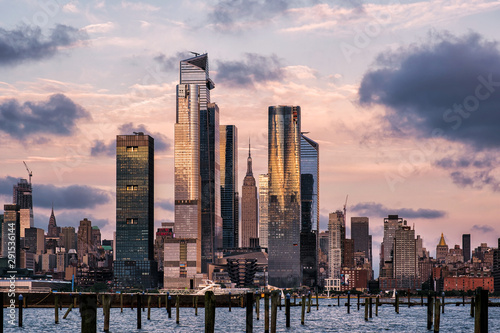 Printed kitchen splashbacks New York Sunset at Hudson Yards skyline of midtown Manhattan view from Hudson River