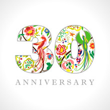 30 Years Old Logotype. 30 Th Anniversary Numbers. Decorative Symbol. Age Congrats With Peacock Birds. Isolated Abstract Graphic Design Template. Royal Colorful Digits. Up To 30% Percent Off Discount.