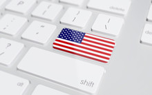 USA Flag On Enter Button Of Co...