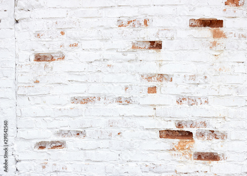 Foto op Canvas Stenen White brick vintage textured loft wall background texture, empty space for your design, closeup, festive christmas holiday backdrop concept