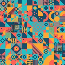 Vintage Bauhaus Art Design Vector Seamless Pattern