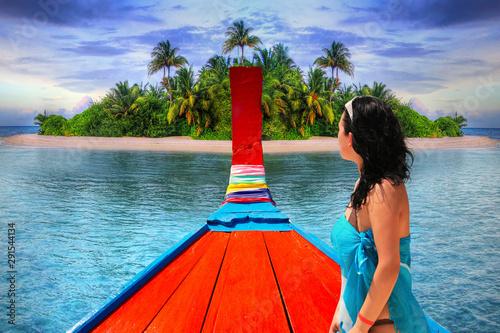 Fototapeta  Beautiful woman on a boat at the tropical island of Maldives