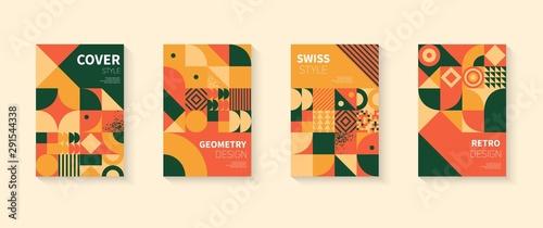 Fotografia  Vintage retro bauhaus design vector covers set