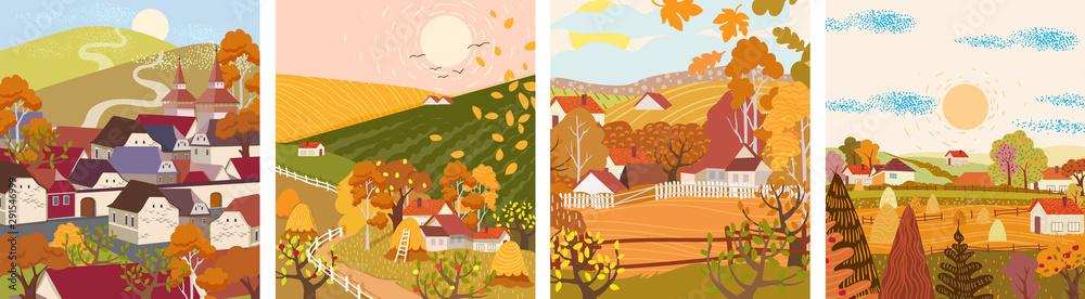 Fototapeta Set of cartoon flat autumn season village and town vector. Birds flying, haystacks, mountains