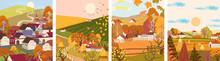 Set Of Cartoon Flat Autumn Sea...